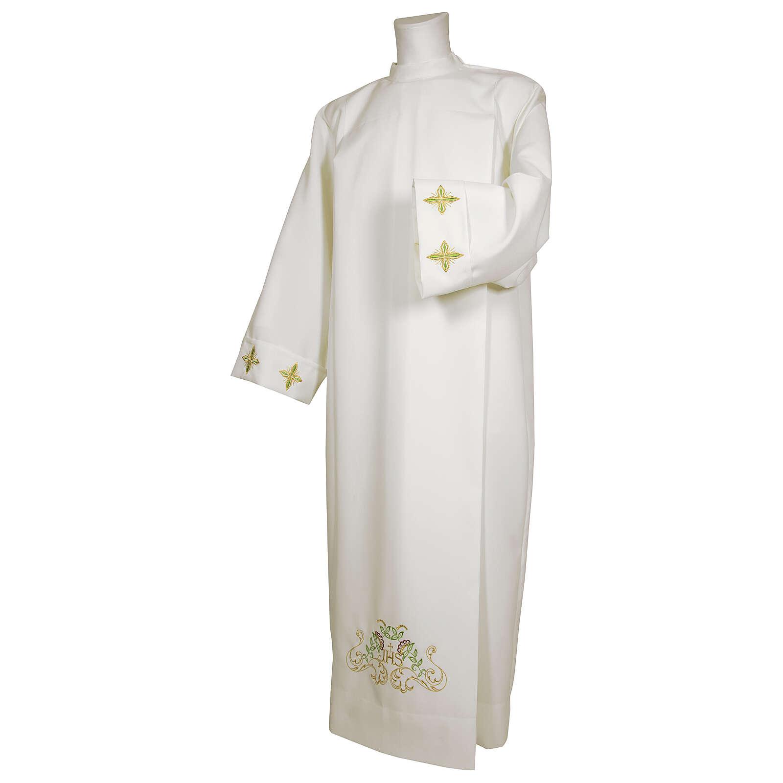 Alva branca 65% poliéster 35% algodão cruz decoro floral fecho de correr na frente 4