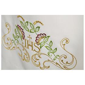 Alva branca 65% poliéster 35% algodão cruz decoro floral fecho de correr na frente s2