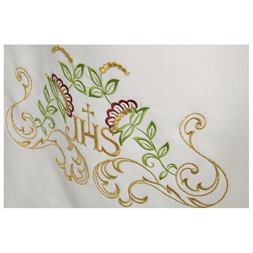 Alva branca 65% poliéster 35% algodão cruz decoro floral fecho de correr na frente 2