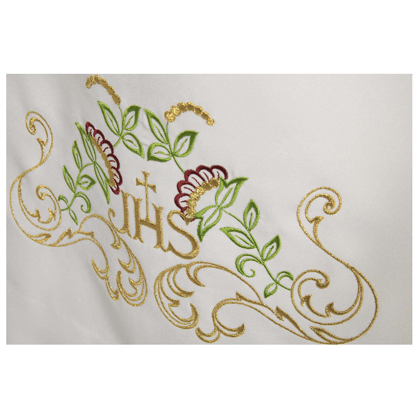 Camice bianco 65% poliestere 35% cotone croce decori floreali cerniera spalla 4