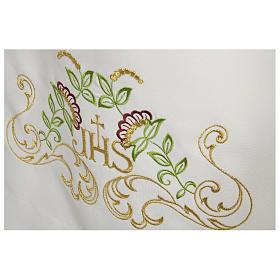 Camice bianco 65% poliestere 35% cotone croce decori floreali cerniera spalla s2