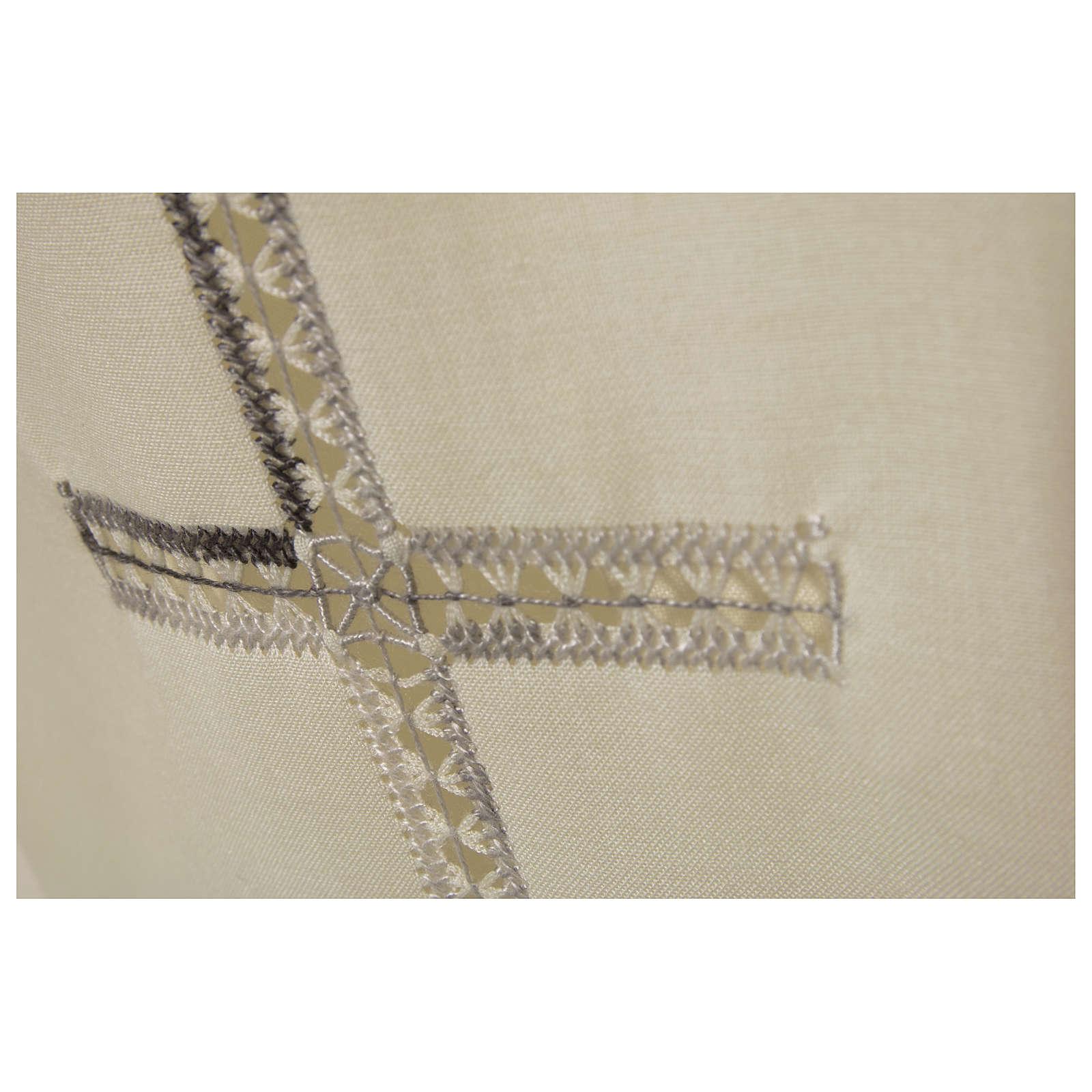 Camice avorio 55% pol. 45% lana gigliuccio croce RICAMO MANO cerniera davanti 4