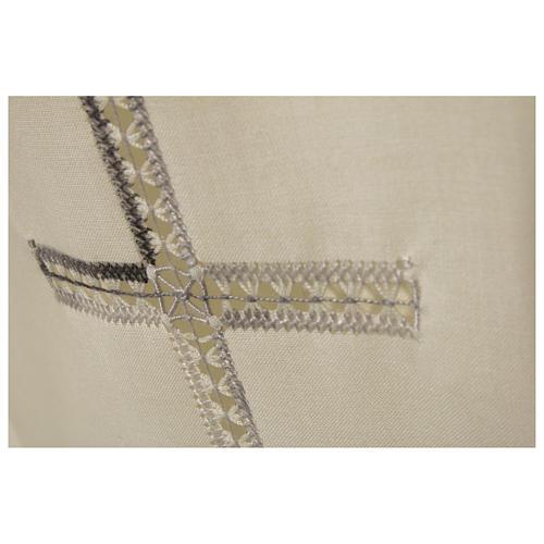 Camice avorio 55% pol. 45% lana gigliuccio croce RICAMO MANO cerniera davanti 2