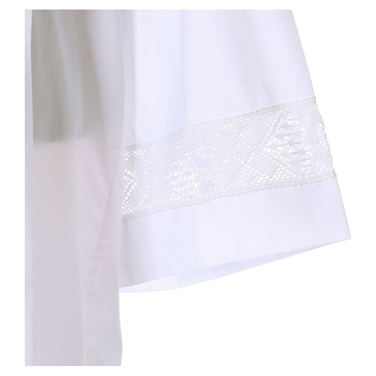 White alb 65% polyester 35% cotton with lace partition and zip on the front 4