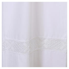 White alb 65% polyester 35% cotton with lace partition and zip on the front s2