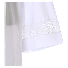 White alb 65% polyester 35% cotton with lace partition and zip on the front s3
