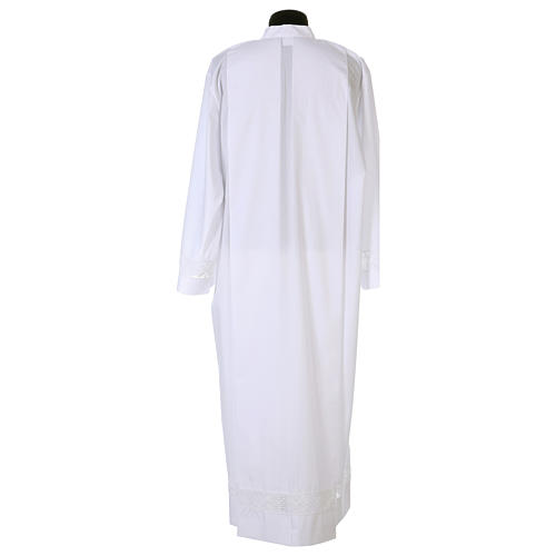 White alb 65% polyester 35% cotton with lace partition and zip on the front 6