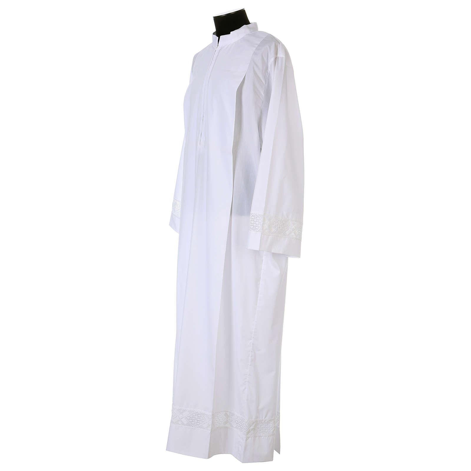 Alba blanca 65% poliéster 35% algodón entredós encaje cremallera parte anterior 4