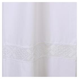 Alba blanca 65% poliéster 35% algodón entredós encaje cremallera parte anterior s2