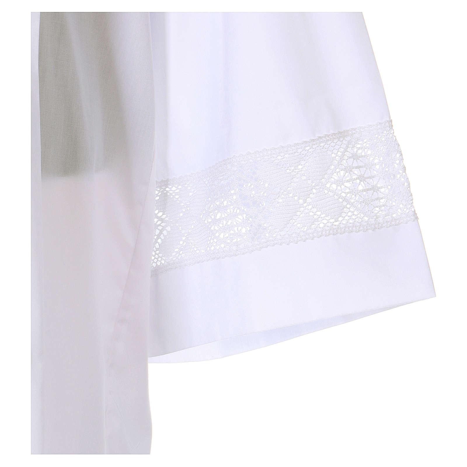 Aube blanche 65% polyester 35% coton entretoile dentelle fermeture avant 4