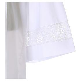 Camice bianco 65% poliestere 35% cotone tramezzo merletto cerniera davanti s3