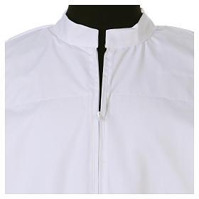 Camice bianco 65% poliestere 35% cotone tramezzo merletto cerniera davanti s4
