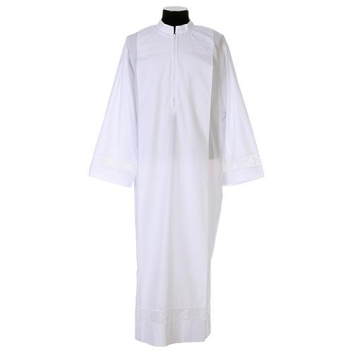 Camice bianco 65% poliestere 35% cotone tramezzo merletto cerniera davanti 1