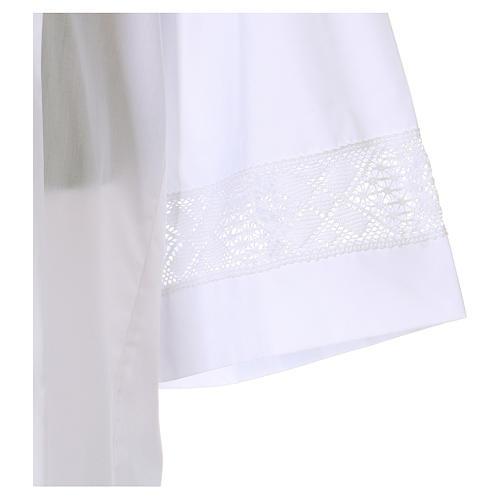 Camice bianco 65% poliestere 35% cotone tramezzo merletto cerniera davanti 3