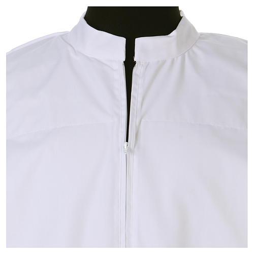 Camice bianco 65% poliestere 35% cotone tramezzo merletto cerniera davanti 4