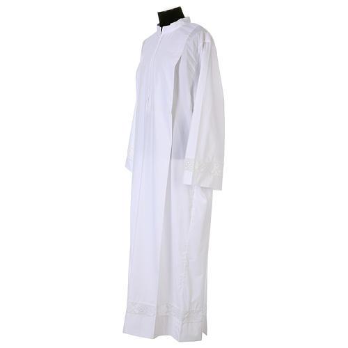 Camice bianco 65% poliestere 35% cotone tramezzo merletto cerniera davanti 5