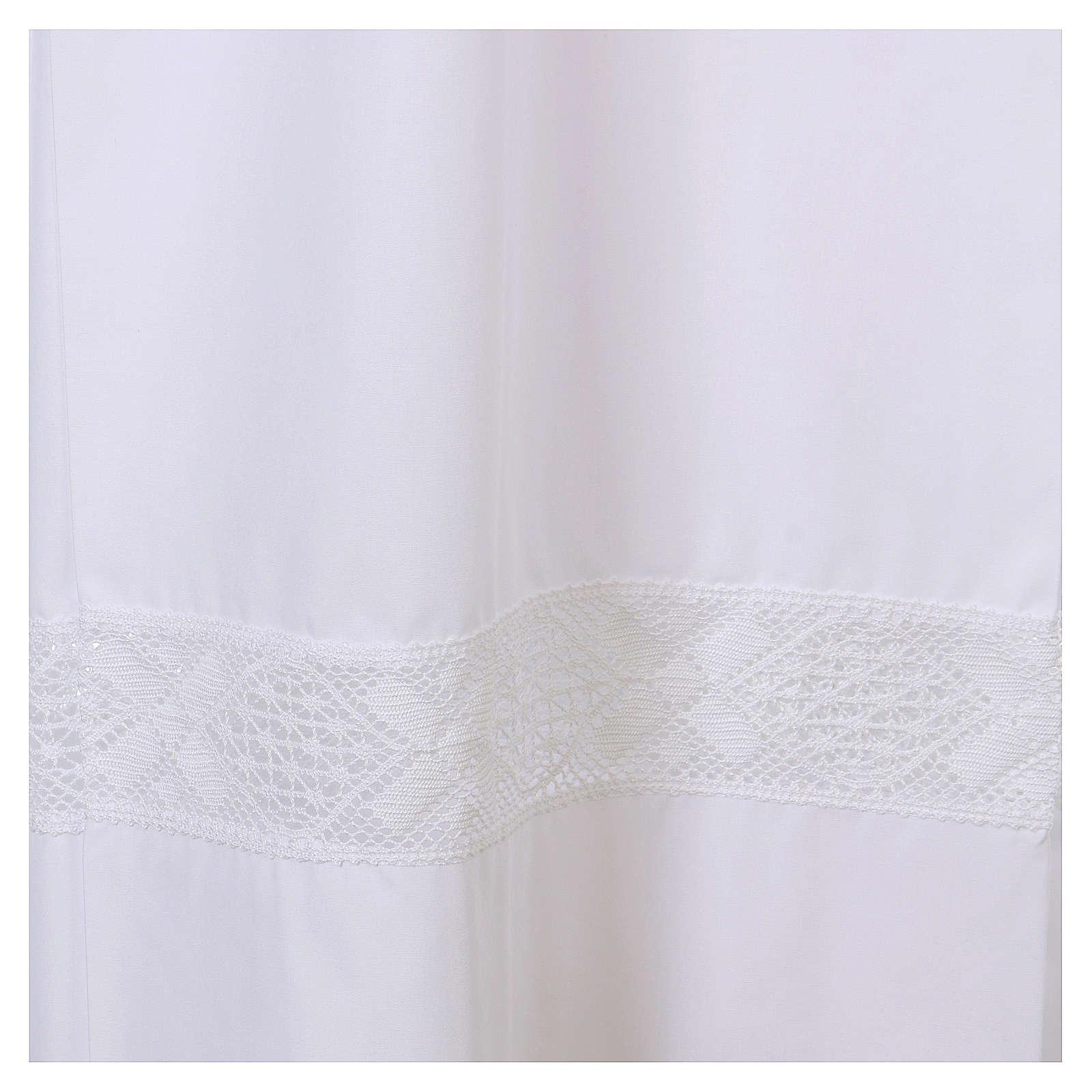 Alba biała 65% poliester 35% bawełna koronka wstawiana zamek z przodu 4