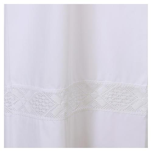 Alba biała 65% poliester 35% bawełna koronka wstawiana zamek z przodu 2