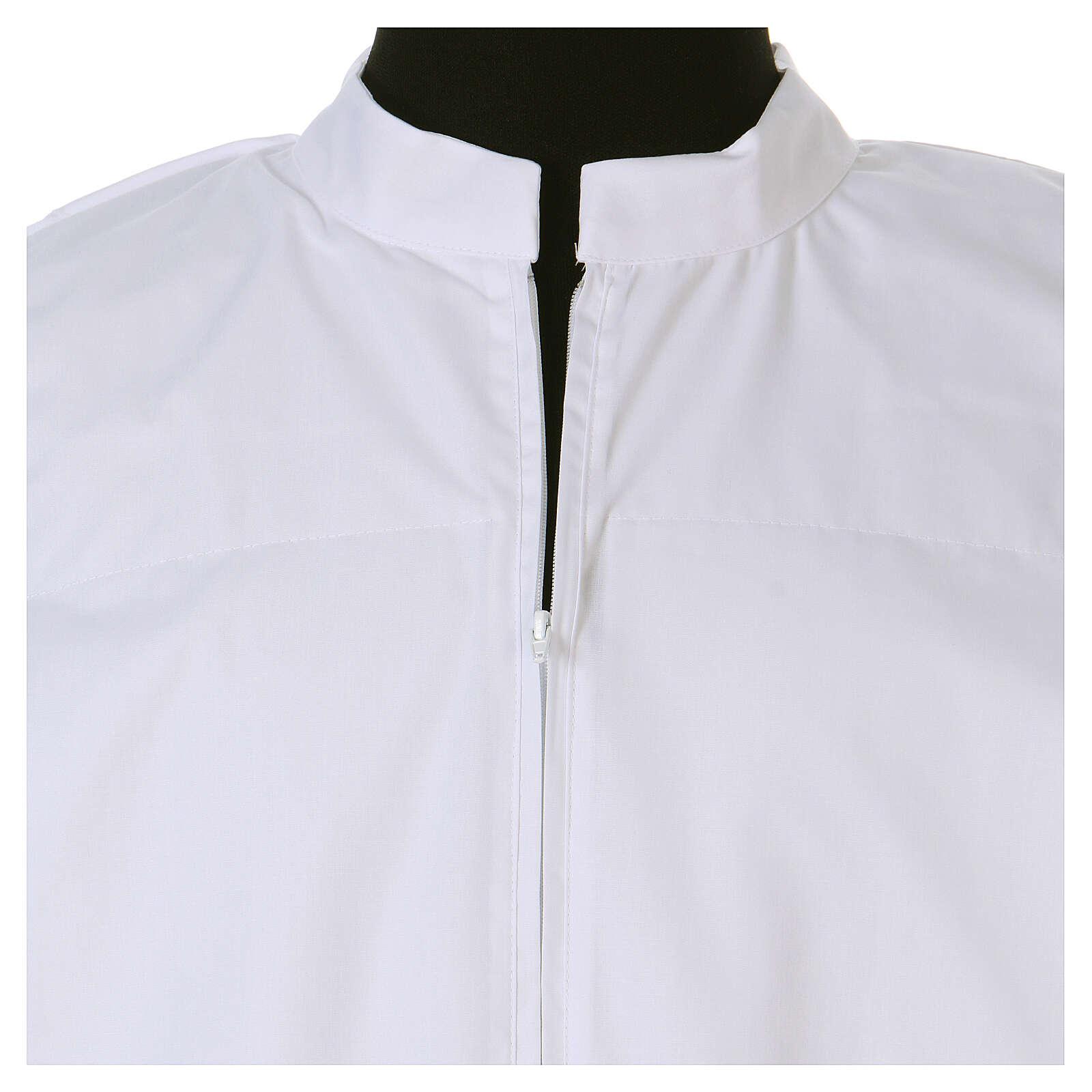 Alva branca 65% poliéster 35% algodão renda fecho de correr  na frente 4