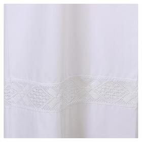 Alva branca 65% poliéster 35% algodão renda fecho de correr  na frente s2
