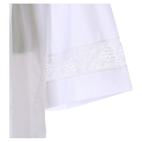 Catholic Alb with lace partition 65% polyester 35% cotton with front zipper 3