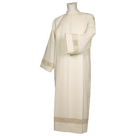 Alb 65% polyester 35% cotton with lace band and zipper on the front, ivory s1