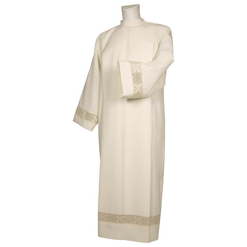 Alb 65% polyester 35% cotton with lace band and zipper on the front, ivory 1