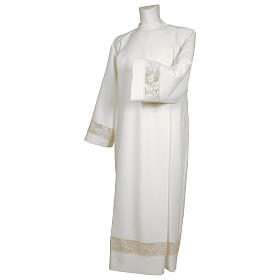Camice bianco 65% poliestere 35% cotone tramezzo merletto dorato cerniera davanti s1