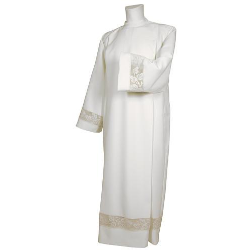 Camice bianco 65% poliestere 35% cotone tramezzo merletto dorato cerniera davanti 1