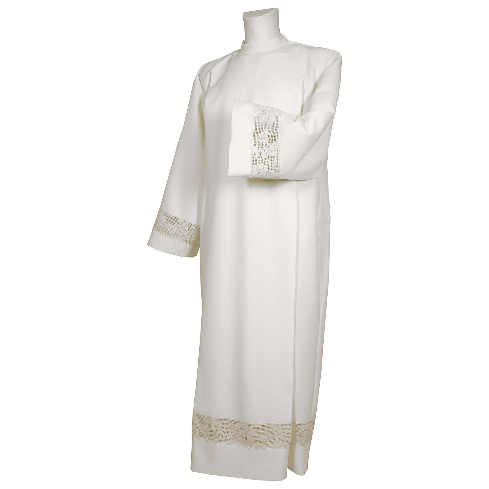 Camice bianco 65% poliestere 35% cotone tramezzo merletto dorato cerniera spalla 4
