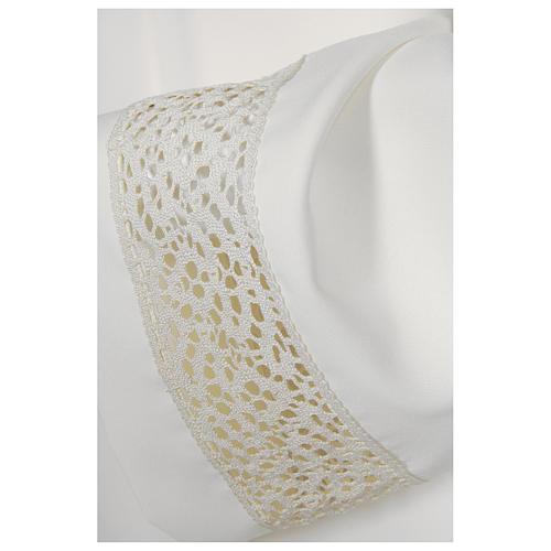 Camice bianco 65% poliestere 35% cotone tramezzo merletto dorato cerniera davanti 2