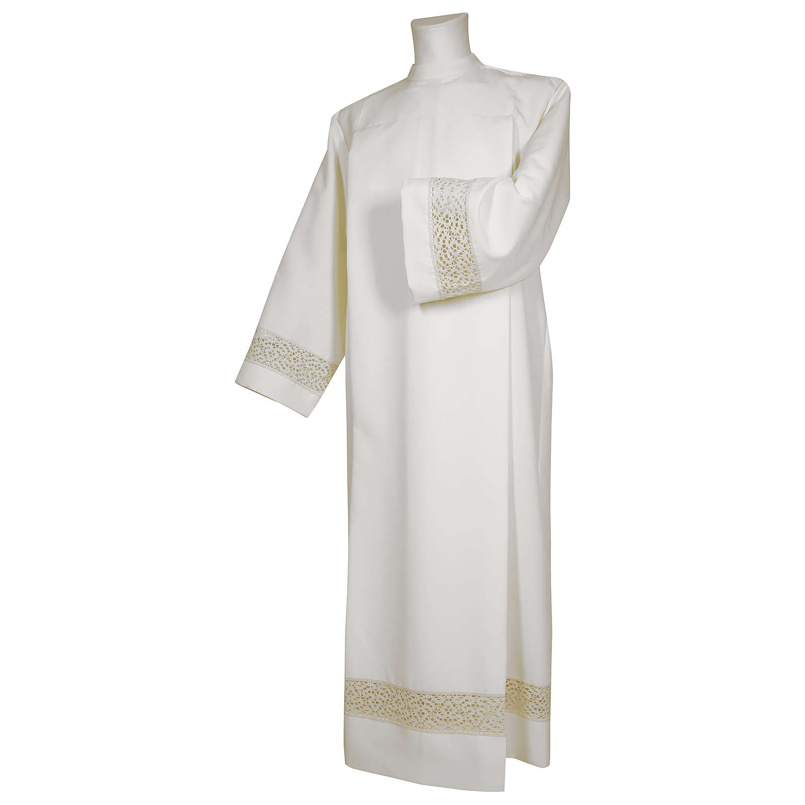White alb 65% polyester 35% cotton with golden lace and crochet partition and zip on shoulder 4