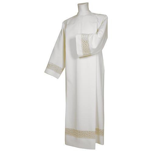 Camice bianco 65% poliestere 35% cotone tramezzo merletto dorato cerniera spalla 1