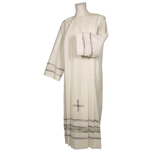 Camice avorio 55% pol. 45% lana gigliuccio papale RICAMO A MANO cerniera spalla 1