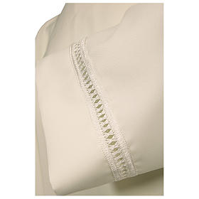 Alb 100% polyester with shoulder zipper and gigliuccio hemstitch, ivory s2