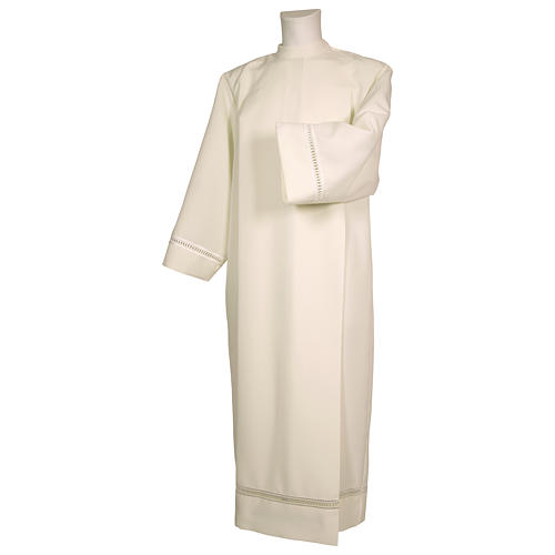 Alb 100% polyester with shoulder zipper and gigliuccio hemstitch, ivory 1