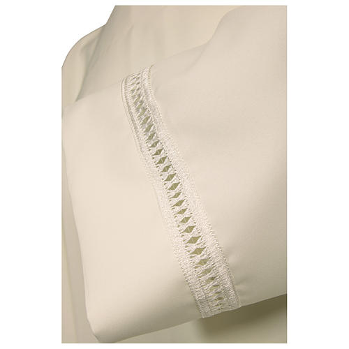 Alb 100% polyester with shoulder zipper and gigliuccio hemstitch, ivory 2