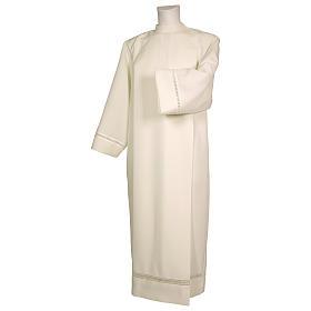 Aubes liturgiques et Surplis: Aube 100% polyester ivoire ourlet à jour fermeture devant