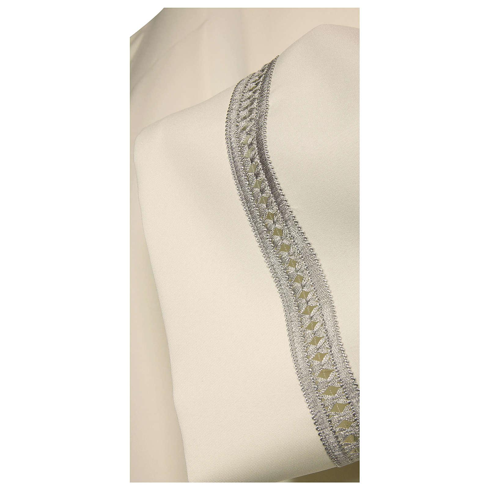 Aube 65% polyester 35% coton ivoire ourlet à jour argent machine fermeture épaule 4