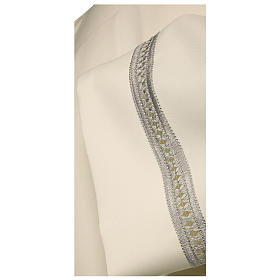 Catholic Alb with silver gigliuccio hemstitch 65% polyester 35% cotton and shoulder zipper, ivory s2