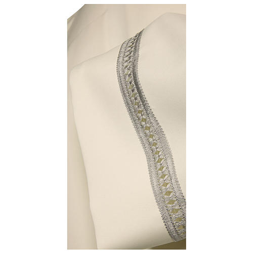 Catholic Alb with silver gigliuccio hemstitch 65% polyester 35% cotton and shoulder zipper, ivory 2