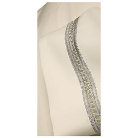 Alb 100% polyester with silver gigliuccio hemstitch and zipper on the front, ivory s2