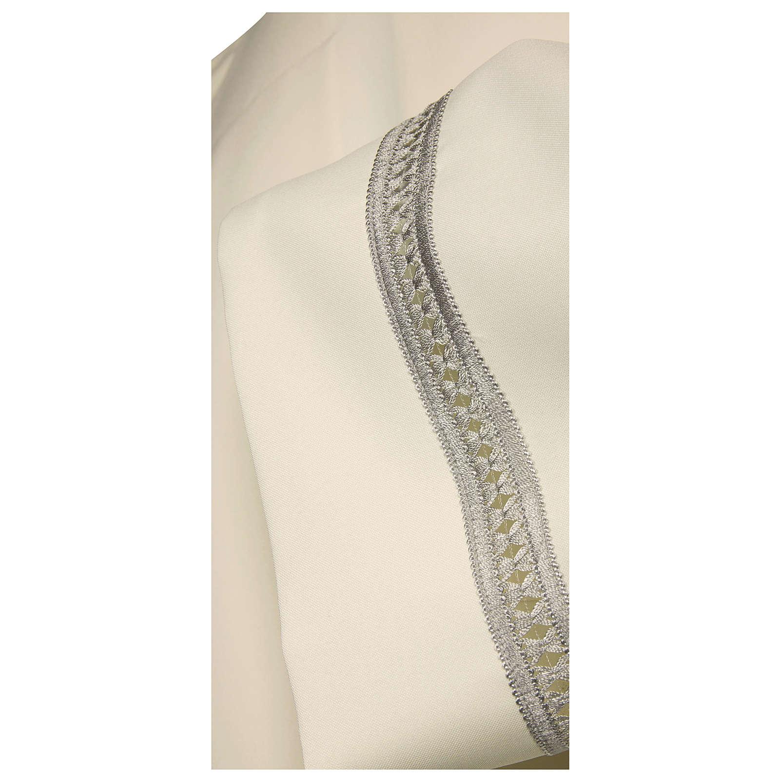 Aube ivoire 100% polyester ourlet à jour argent machine fermeture avant 4