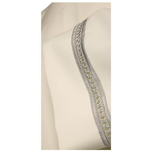 Aube ivoire 100% polyester ourlet à jour argent machine fermeture avant 2