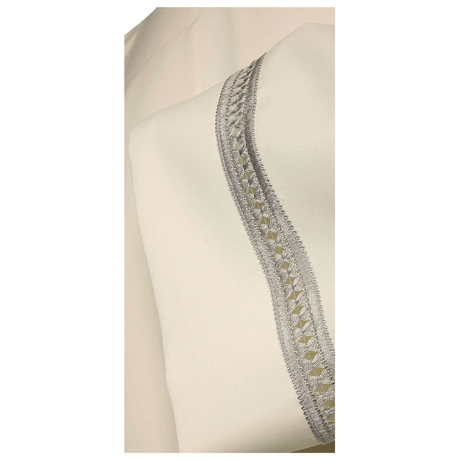 Priest Alb with silver gigliuccio hemstitch in ivory and front zipper 4