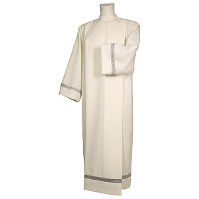 Priest Alb with silver gigliuccio hemstitch in ivory and front zipper s1