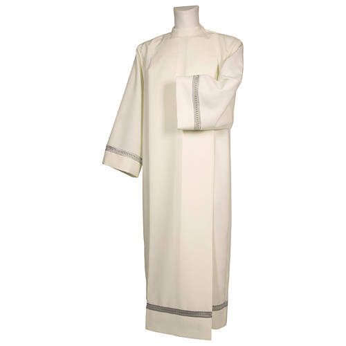 Priest Alb with silver gigliuccio hemstitch in ivory and front zipper 1