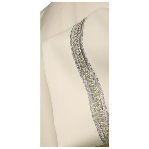 Priest Alb with silver gigliuccio hemstitch in ivory and front zipper 2
