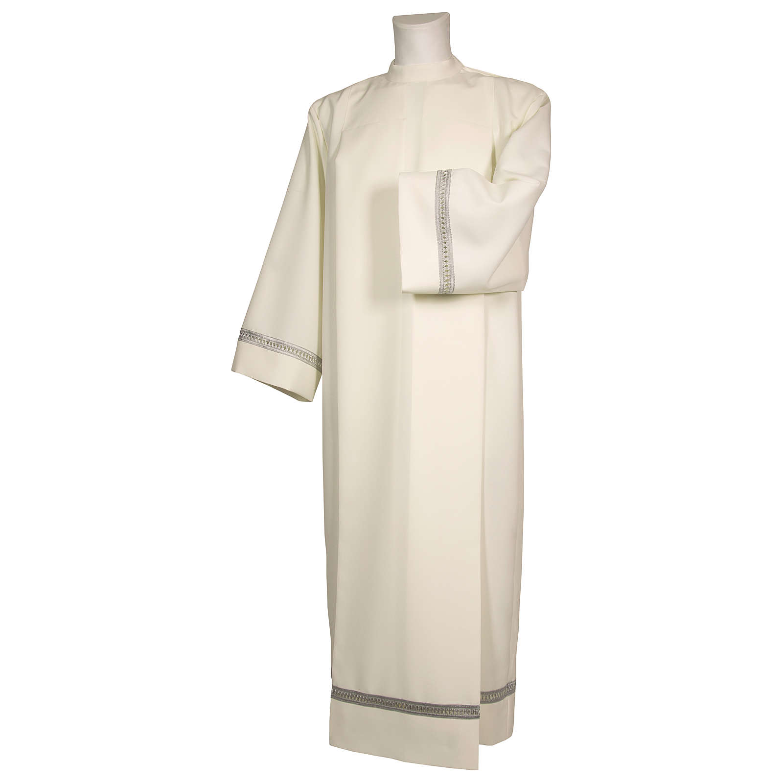 Alb 100% polyester with silver gigliuccio hemstitch and shoulder zipper, ivory 4