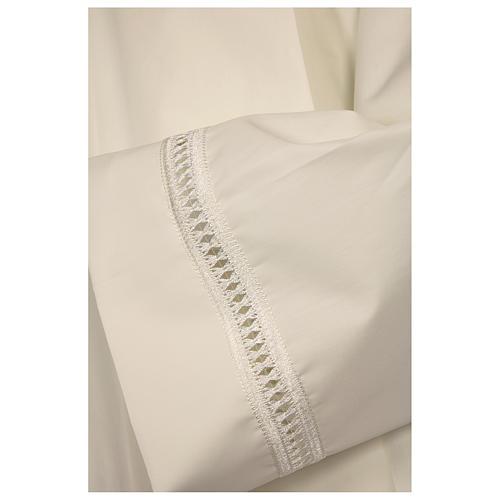 Aube 65% polyester 35% coton ivoire ourlet à jour et croix fermeture devant 2